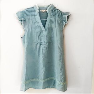 Anthropologie Mine Blue-Teal Lace Tank